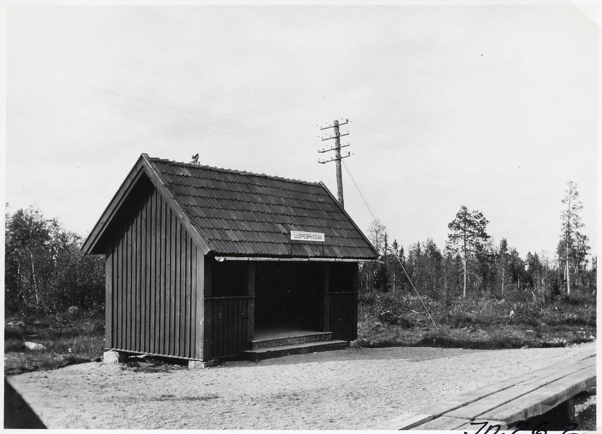 Hållplatsstuga vid Luspebryggan. Riven 1980.