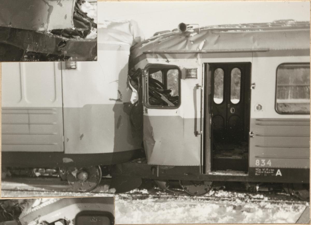 Statens Järnvägar, SJ YCo6 834 och UCFo6y 1845 skador efter kollision med Nordpilen 1955.