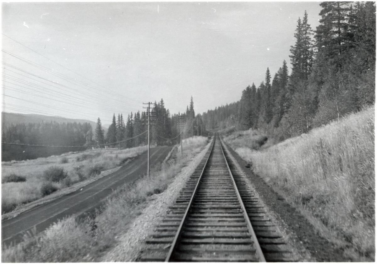 Vy över järnvägsspåret någonstans på sträckan Vansbro - Särna - Mora - Älvdalen.