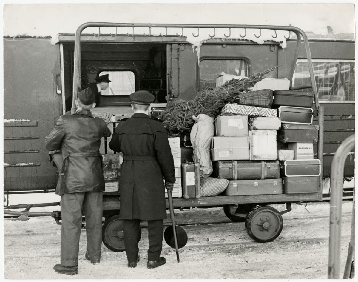 Gods- och bagagehantering från plattformsvagn.