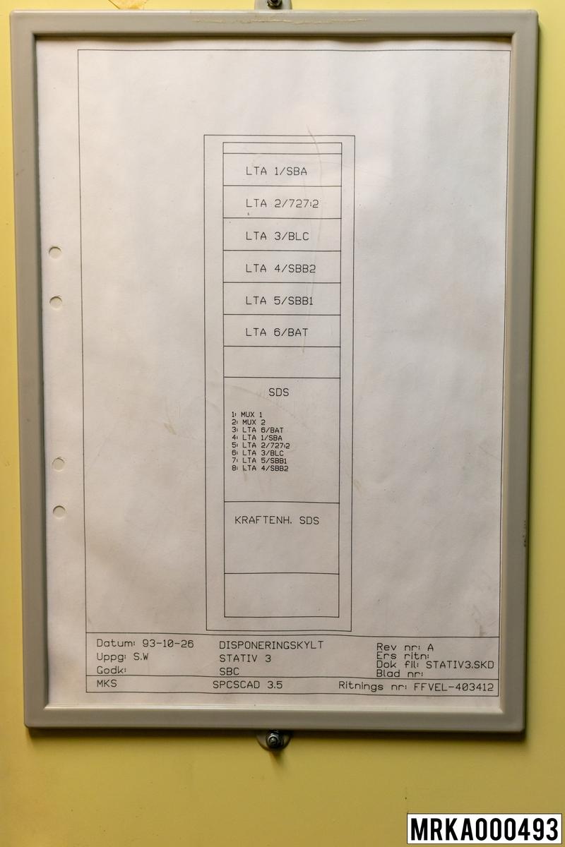 Ritning stativ 3. Ritnings nr: FFVEL-403412
