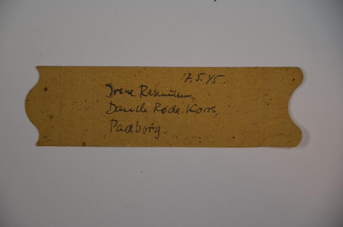 To gule Davidstjerner, et grønt identitetsmerke (brukt av politiske fanger i konsentrasjonsleire), pengesedler fra hhv. Theresienstadt og Buchenwald; tøymerke med fangenummer: 15759; fødselsarmbind fra danske røde kors; samt minnenål fra Auschwitw, datert 1984. Gjenstandene er fra Leo Eitingers dødsbo, og ble trolig tatt med av Eitinger fra Danmark i 1945.