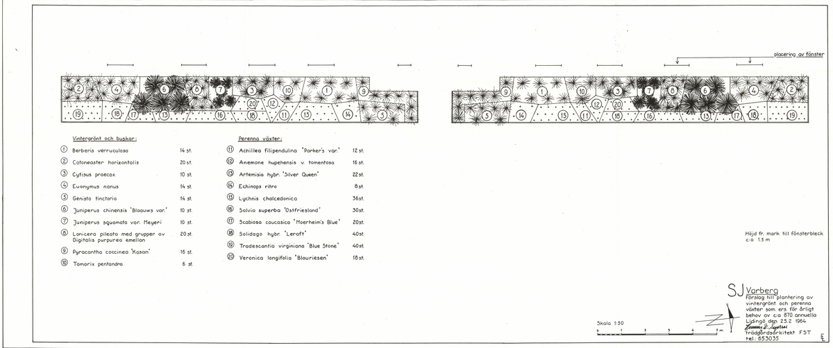 """SJ. Varberg. Förslag till plantering av vintergrönt och perenna växter som ers. För årligt behov av c:a 870 annuella.  Buskar: Berberis verruculosa, Cotoneaster horizontalis, Cytisus praecox, Euonymus nanus, Genista tinctoria, Juniperus chinensis """"blaauws var."""", Juniperus squamata var. Meyeri, Lonicera pileata, Digitalis purpurea, Pyracantha coccinea """"Kasan"""", Tamarix pentandra.  Perenner: Achillea filipendulina """"parker""""s var."""", Anemone hupehensis v. tomentosa, Artemisisa hybr. """"Silver Queen"""", Echinops ritro, Lychnis chalcedonica, Salvia superba """"Ostfriesland"""", Scabiosa caucasica """"Moerheim""""s Blue"""", Solidago hybr. """"Leraft"""", Tradescantia virginiana """"Blue stone"""", Veronica Longifolia """"Blaureisen"""".  Fogelbergs samling. Inför järnvägens 150-årsjubileum 2006 gjorde Fredrik Fogelberg och Charlotte Lagerberg Fogelberg ett utredningsarbete åt dåvarande Banverket om järnvägens planteringar. Närmare 200 planteringsskisser kopierades från Riksarkivet, landsarkiven och hos privatpersoner. Planteringsskisserna är digitaliserade från de gjorda kopiorna och inte från originalen i arkiven."""