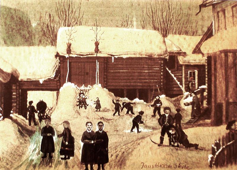 Jansløkka skole med de gamle gårdshusene. Malt i 1884 av Otto Valstad. skolebygningen til høyre. Skaugumsåsen i bakgrunnen