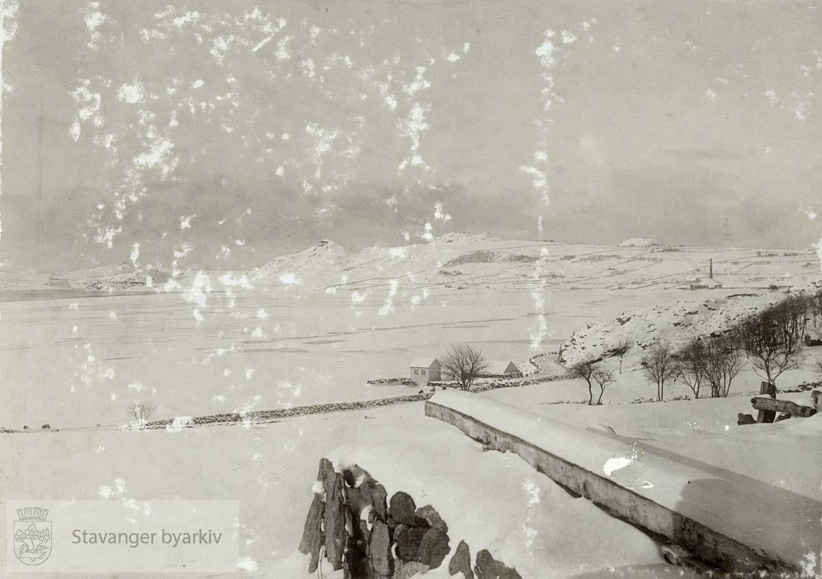 Jærlandskap i vinterdrakt på Nærbø, vinteren 1899/1900