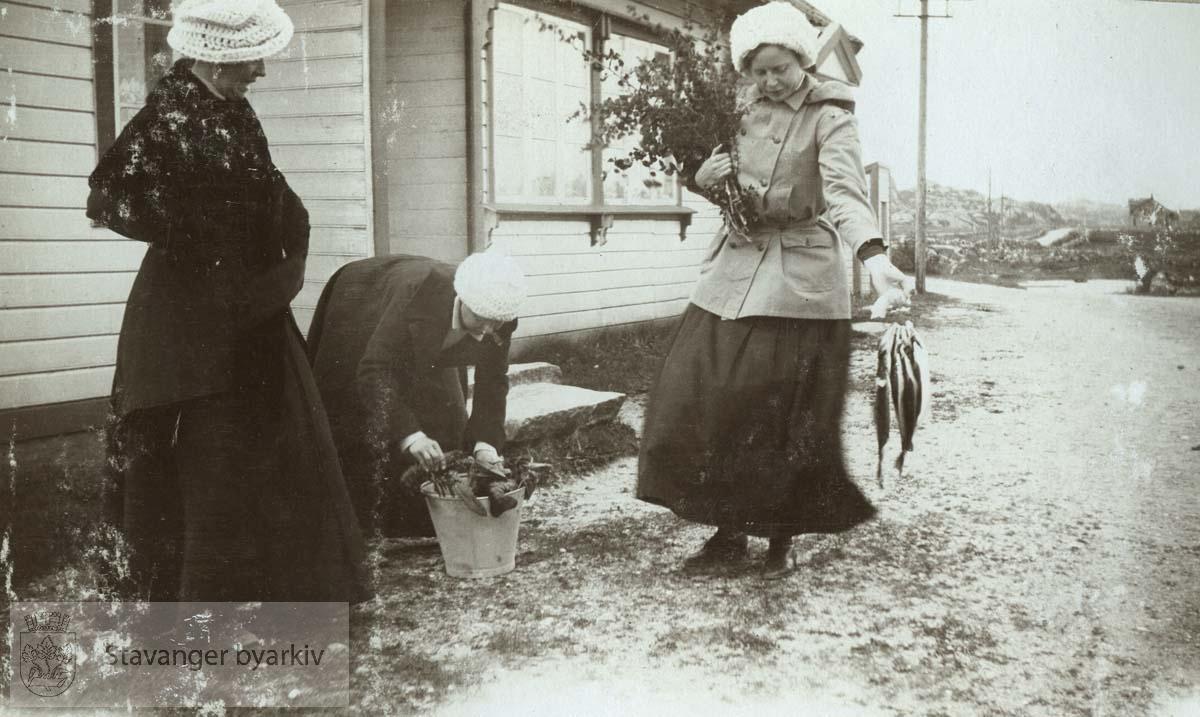 F.v. Birgit, Clara og Hanna Monsen. Pinsen 1912