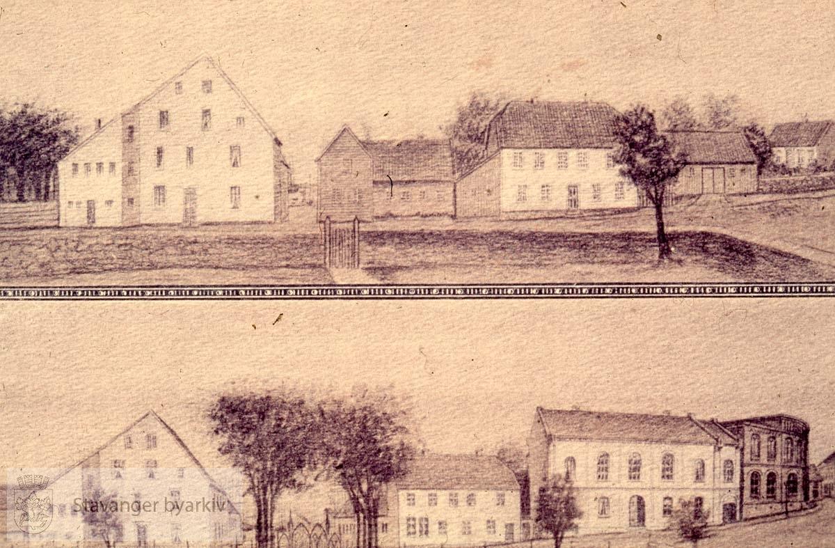Tegning av gamle sentrum, byfogd Christensens hus, sparekassen
