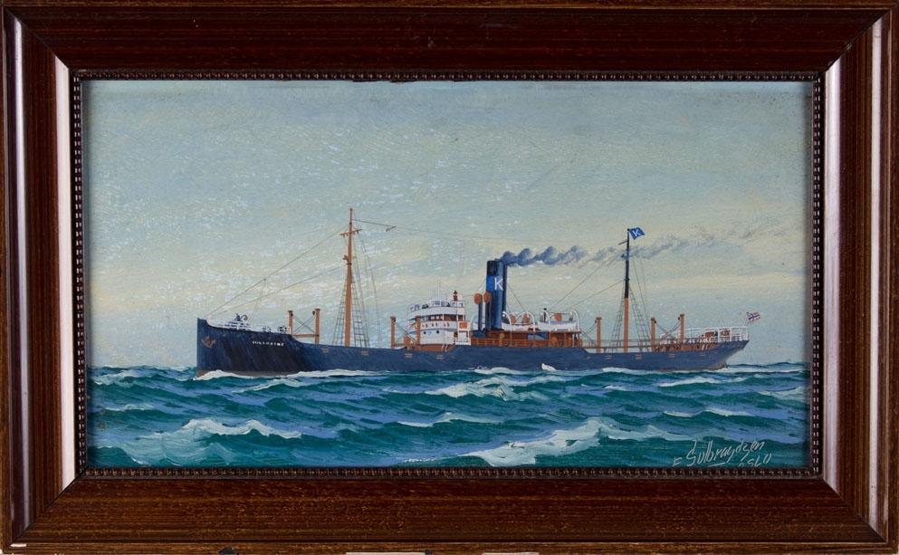 Skipsportrett av DS INGERFIRE under fart i åpne sjø. Fører norsk flagg akter.