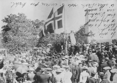 Håkon Håkonsons bauta på Folkenborg i Eidsberg avdukes 24. juni 1904.. Foto/Photo