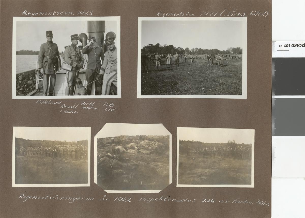 "Text i fotoalbum: ""Regementetsövning 1922""."