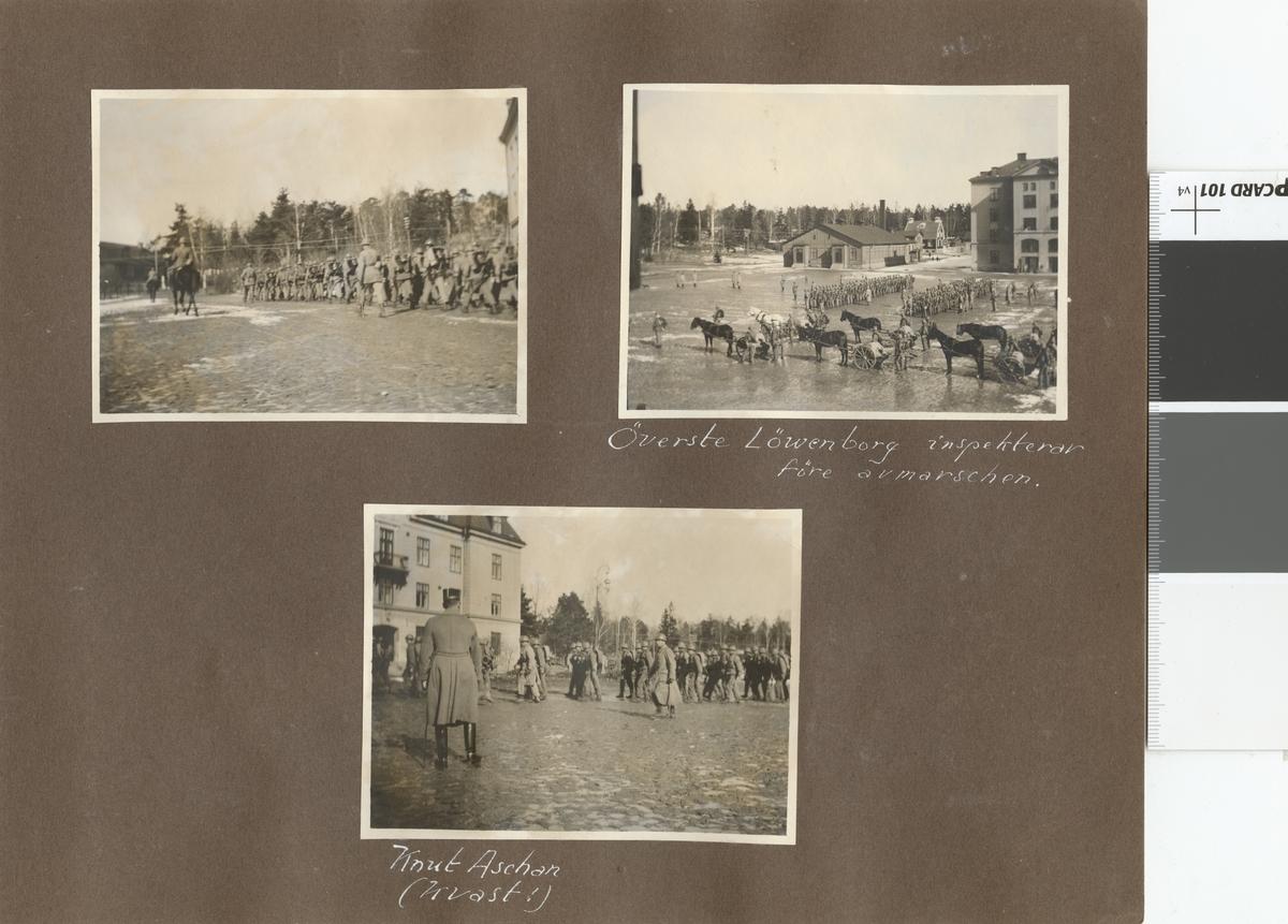 """Text i fotoalbum: """"Bilder från förberedelserna för regementets deltagande i 1925 års vår-manöver å Järvä-fältet""""."""