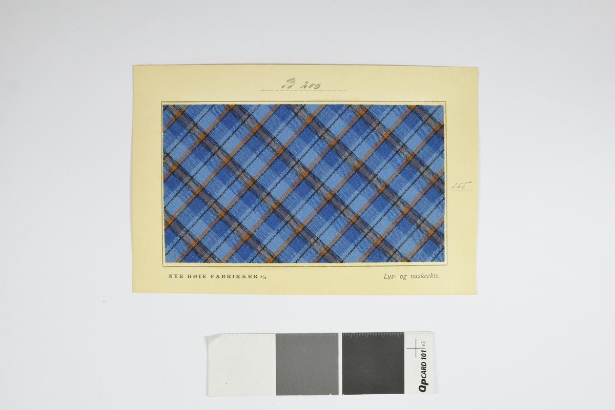 Prøvekort bestående av tekstilprøve limt til et papirkort.