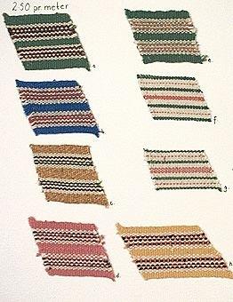 8 stycken bandprover uppsydda på ett A4-ark. Banden är alla vävda i varprips. Bredden är mellan 33 mm och 47 mm.