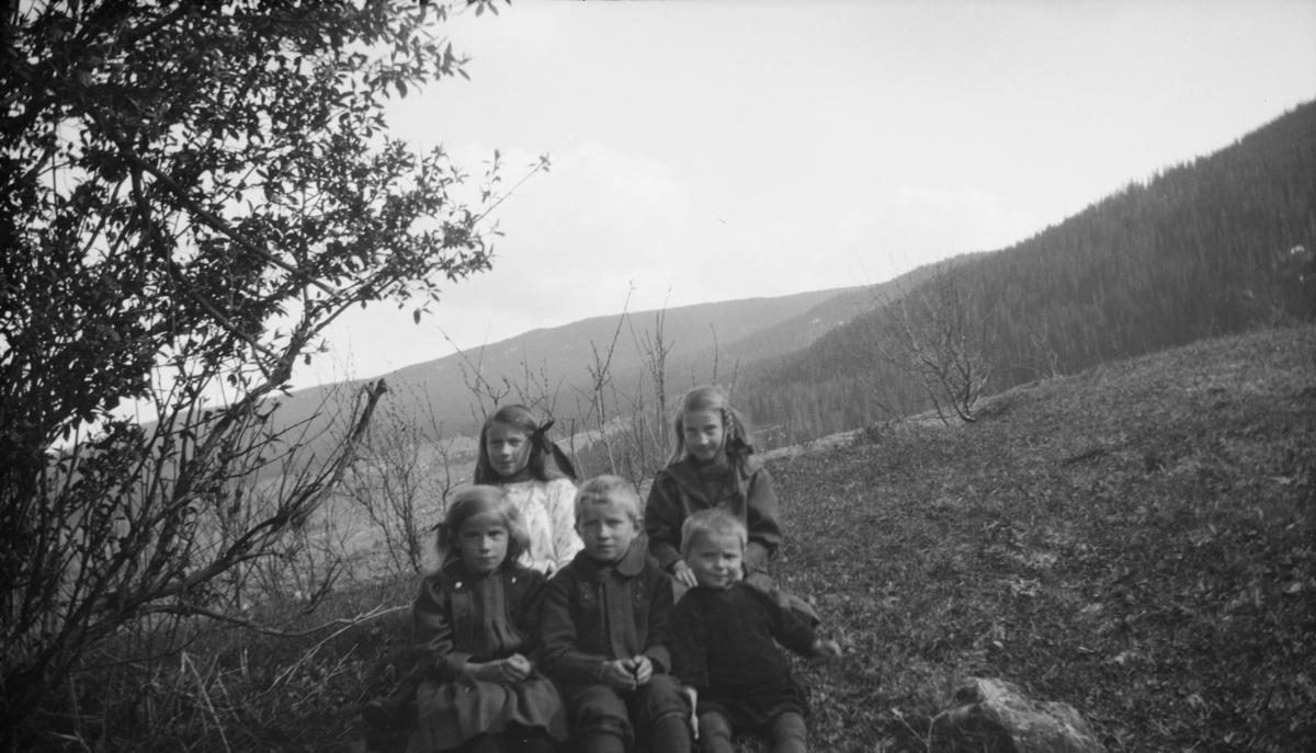 Fem barn ute i naturen