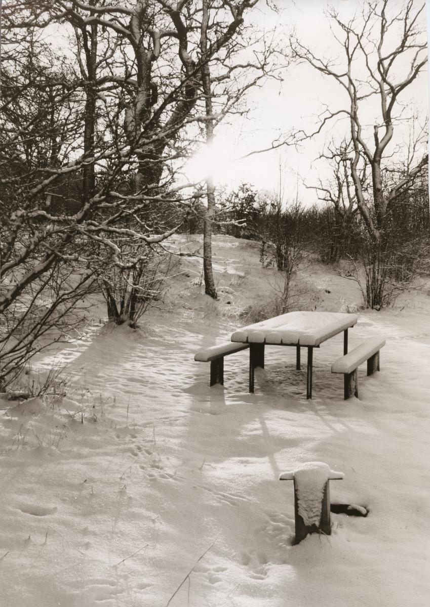 Vinterlandskap med översnöat bord och sittplatser.