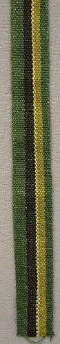 Band vävt i varprips. Troligen använt till skinnsömnad. Varp: Lingarn i grönt, gult, brunt och vitt. Inslag: Grönt lingarn.