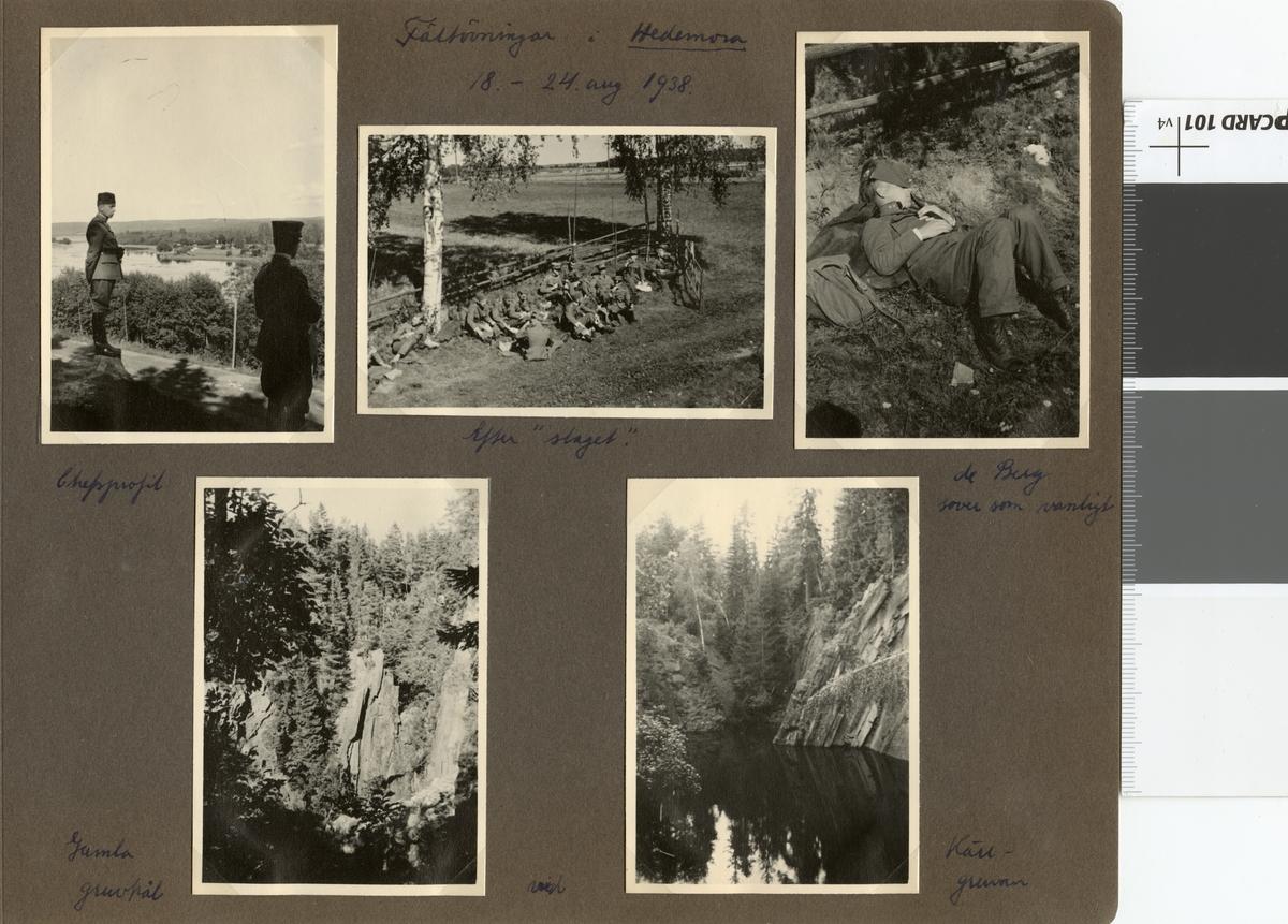"""Text i fotoalbum: """"Fältövningar i Hedemora 18.-24.8.1938. Efter slaget."""""""