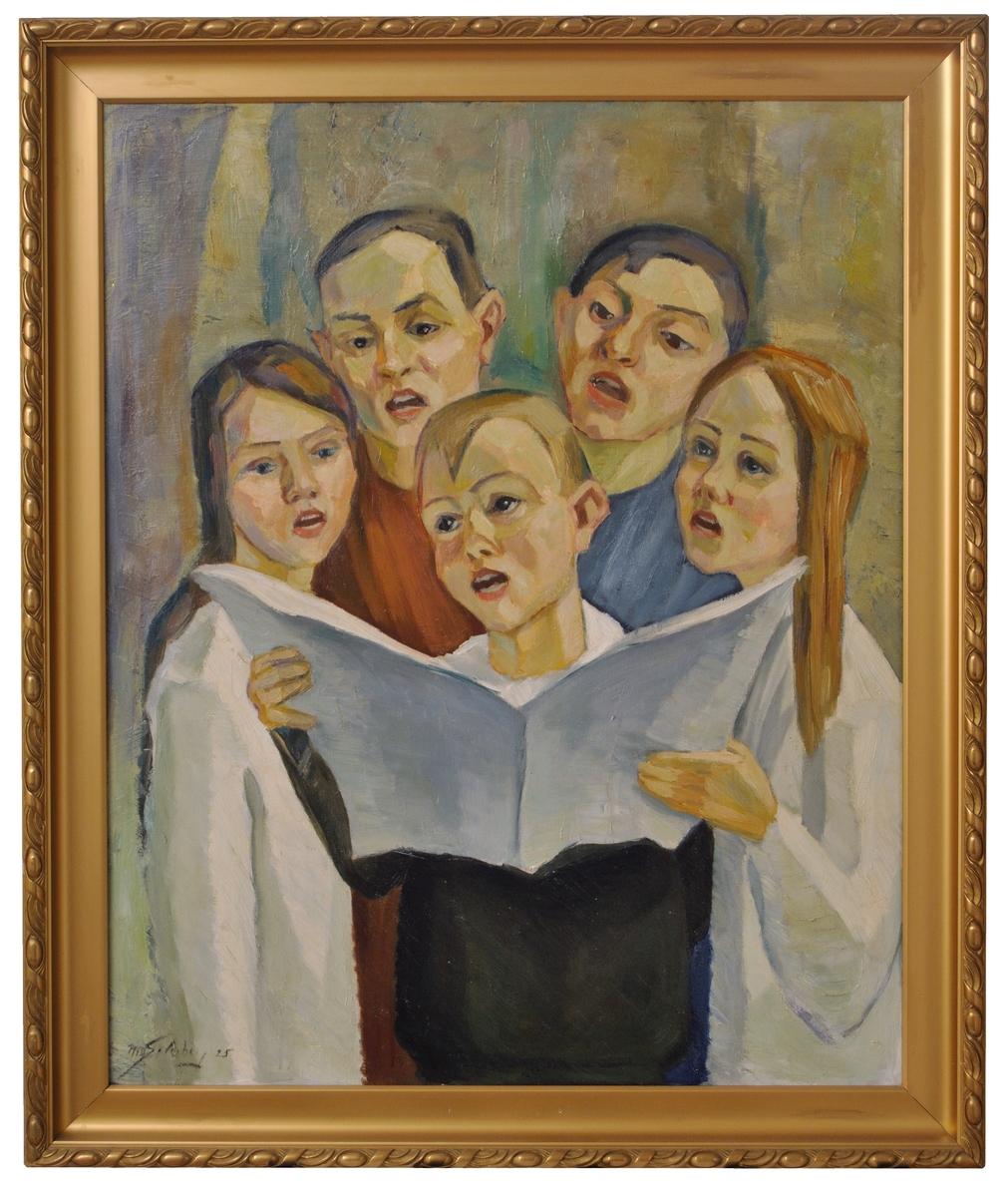 """Oljemålning, """"Sjungande barn"""", signerad Nils Söderberg 1925."""