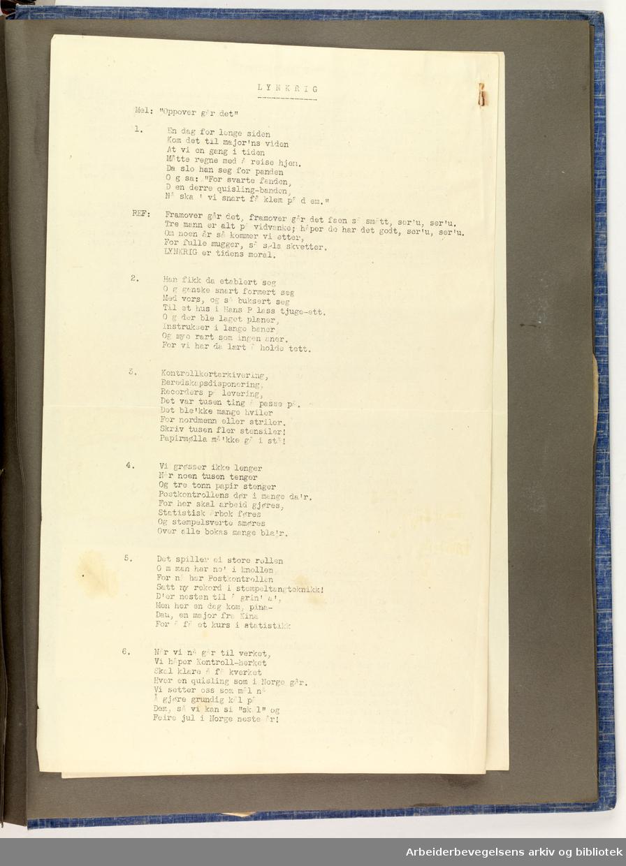 Album laget av Sissel Lie, gift Fosse og senere Bratz (1922-1983). Foto og utklipp fra tiden hun tjenestegjorde i Den norske hærs kvinnekorps i Storbritannia under andre verdenskrig. Hun oppnådde graden fenrik i kontrolltjenesten. Albumet har tittelen Sissels Scrapbook fra 1944-45. Side 98: En dobbeltisidig A4 side med humoristiske sanger til fester. Tittelen på sangen er LYNKRIG. På baksiden siden står det K-Fen Fosse. TOP (ikke secret).