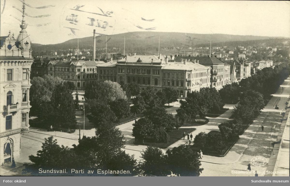 Vykort över Esplanaden i Sundsvall.