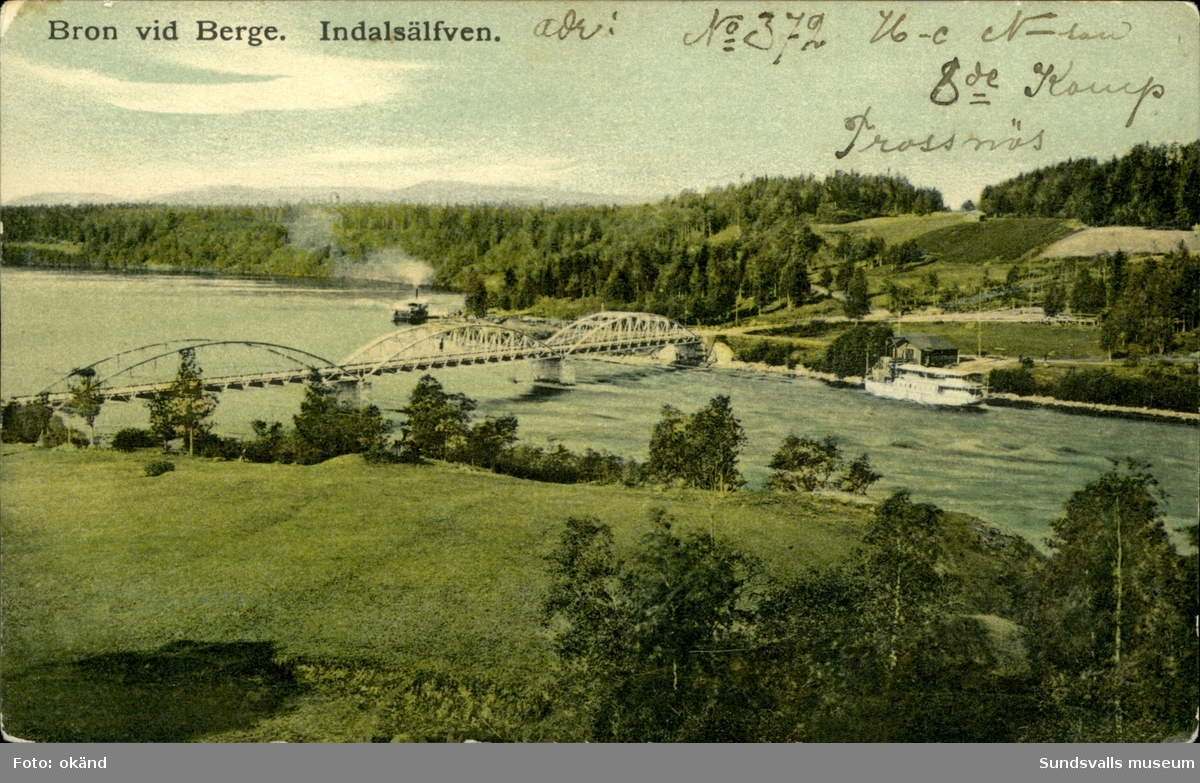 Vykort med motiv över bron vid Berge.