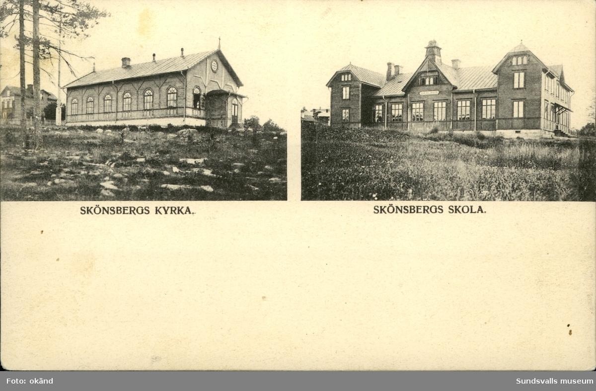 Vykort med motiv över kyrkan och skolan i Skönsberg.