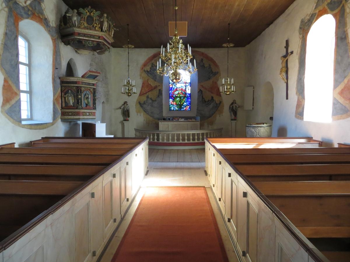 Interiör, Ödestugu kyrka i Jönköpings kommun.