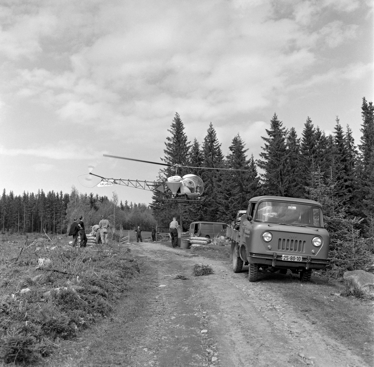 Forberedelser til gjødsling av skog fra helikopter. Fotografiet viser et helikopter med sidemontert gjødselbeholder i lav høyde over bakken over en skogsbilveg på ei åpen flate i skogen. På bakken under helikopteret ser vi noen menn og en del sekker med «Urea» - ei gjødselblanding som ble utviklet spesielt for det norske skogbruket av Norsk Hydro, som et ledd i bestrebelsene for å øke tilveksten i de norske skogene med sikte på å være mest mulig sjølforsynt med råstoff til trelast- og papirindustrien. Gjødslingsaktiviteten ble orientert mot ungskogen, for det gjaldt å sikre den nevnte industrien noenlunde jevn råstofftilgang.  Skogeiersamvirket bidrog med å skaffe i traktormonterte spredeaggregater. Tidlig i 1960-åra etablerte Felleskjøpet en avdeling som tilbød gjødsling av skog fra fly.  Selskapet tok oppdrag så fremt det var snakk om sammenhengende areal på minst 100 dekar og start- og landingsmuligheter for småfly på en rett vegstrekning eller en innsjø mindre enn tre kilometer fra bestandet. Da dette fotografiet ble tatt var tydeligvis også helikopterspredning blitt et aktuelt alternativ. Landbruksdepartementet åpnet muligheter for finansiering av gjødslinga gjennom skogavgiftsordningen. Med et slikt apparat på plass ble 90 000 dekar norsk skogsmark gjødslet i 1967. Det var primært store skogeiendommer som ble gjødslet, og forkjemperne for denne virksomheten så på eiendomsstrukturen i norsk skogbruk, med mange små teiger, som en begrensende faktor. Det viste seg imidlertid etter hvert at prognosene for den volumtilveksten skogen skulle få etter gjødsling hadde vært vel optimistiske. Aktiviteten på dette området avtok utover i 1970-åra. Skoggjødsling fikk en renessanse i 2016. Da ble det kjent at staten gav tilskudd som dekte 40 prosent av gjødslingskostnadene i ensaldret, eldre barskog, bestand som skulle avvirkes i et tiårsperspektiv. Bakgrunnen for denne skogpolitiske kursendringa var ikke bare en vilje til å gi næringa økonomiske stimulanser – det handlet og