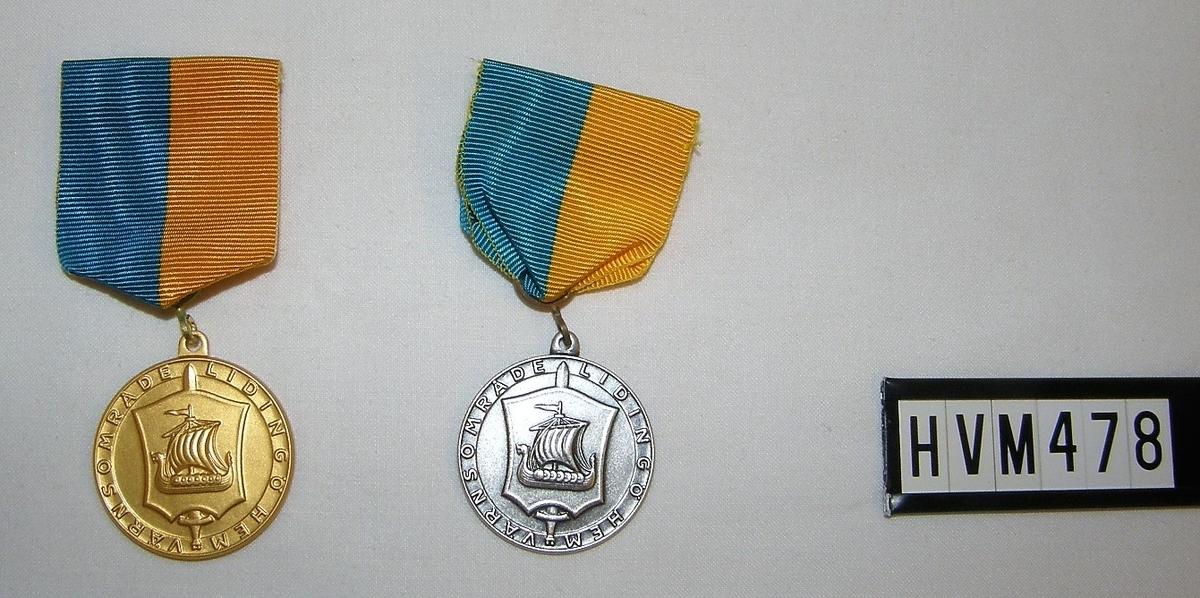 Runda medaljer med band, Guld och Silver, råa medaljer