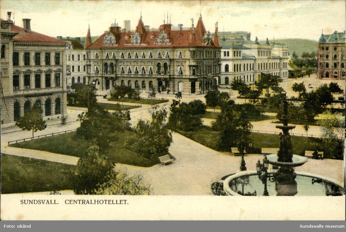 Vykort med motiv över Centralhotellet i Sundsvall.