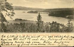 Vykort med motiv över sjön Marmen i Attmar.