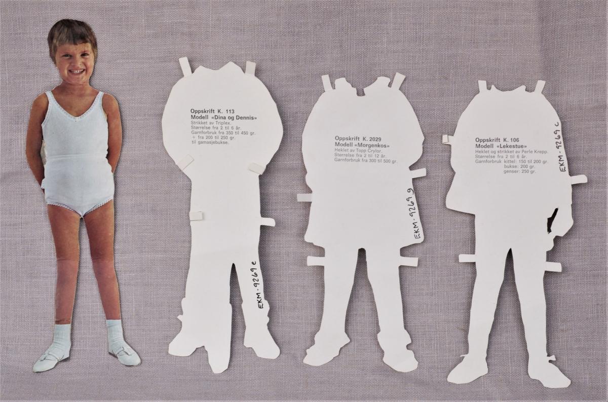 """Papirdukke (a) med klær med et fotografert motiv. Hvert enkelt klesplagg har strikkeinformasjon på baksiden. Inneholder følgende klesmodeller: (b) K105 """"Diddi og Doffen"""" (c) K106 """"Lekestue"""" (d) K109 """"Vivi-Anne"""" (e) K113 """"Dina og Dennis"""" (f) K113  lue (g) K2029 """"Morgenkos"""" (h) K2026 """"Lilje"""" (i) K 2034 mangler modellnavn (j) K2512 """"Alexia"""""""