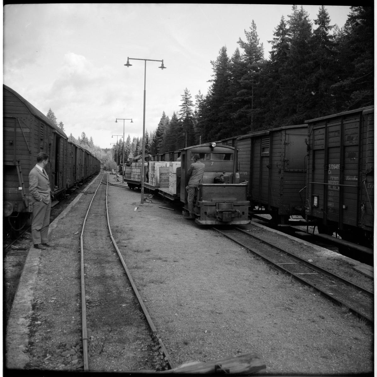 Lokomotor 7 för smalspår kopplad med tre lastade godsvagnar och personal på ekipaget. Statens Järnvägar, SJ Go26403 till vänster i bild.