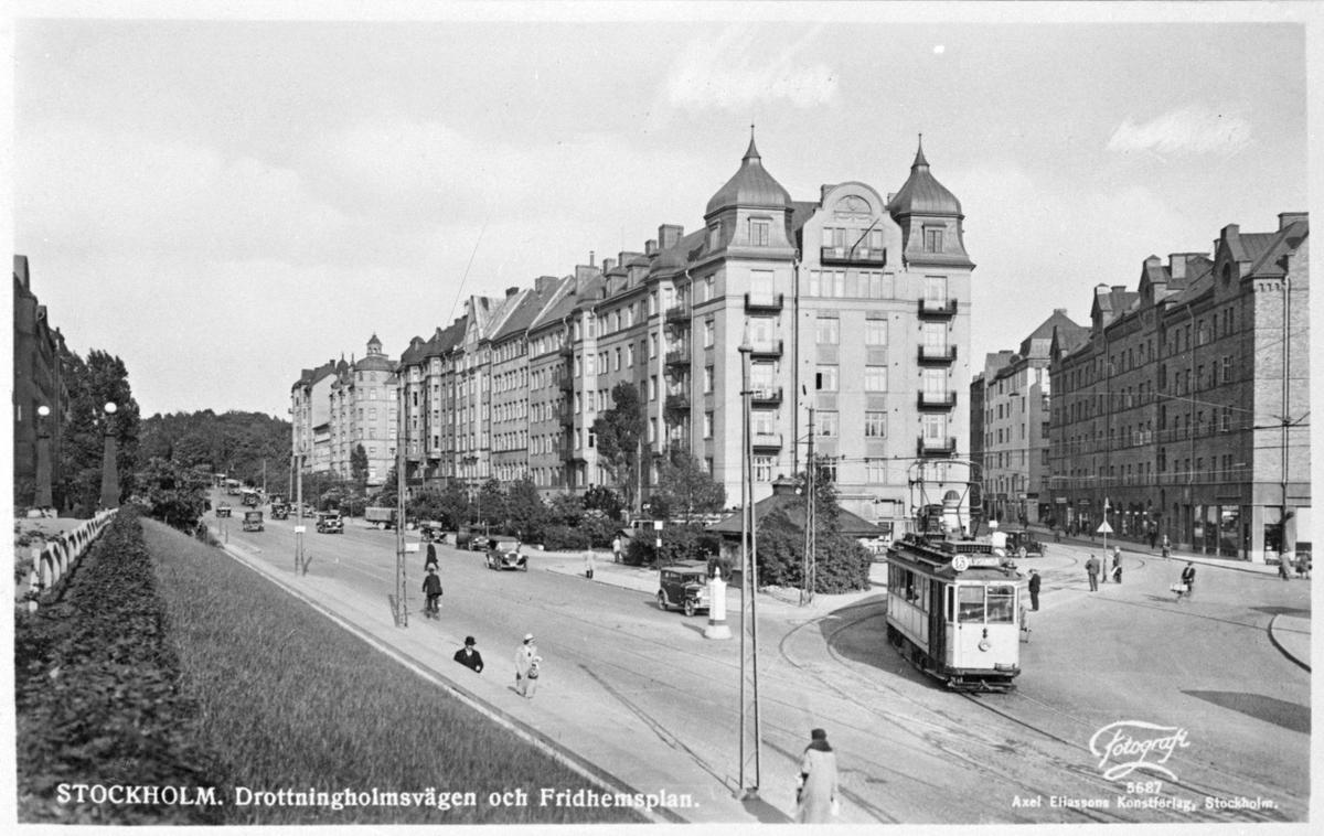 Stadstrafik vid Drottningholmsvägen och Fridhemsplan.