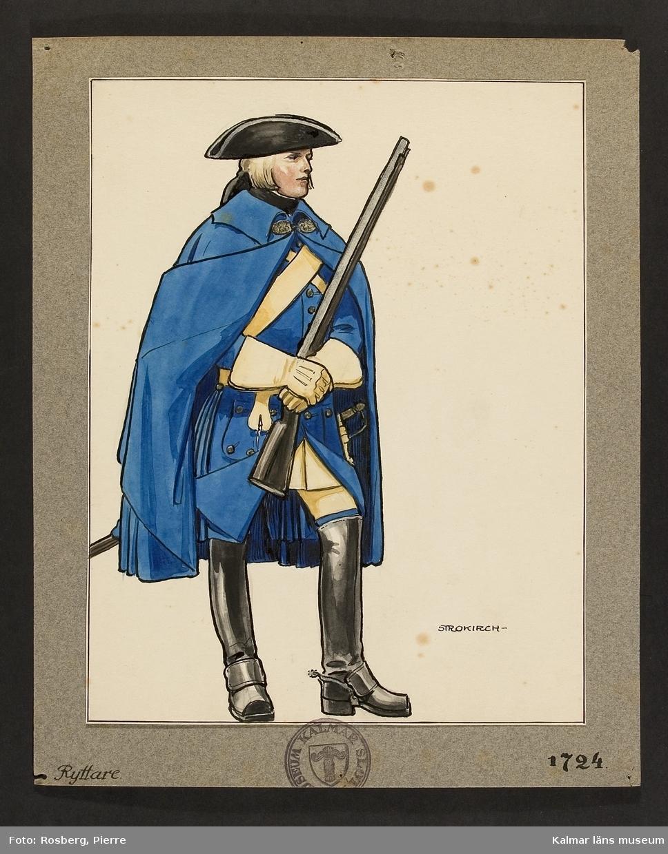 Motiv med ryttare som visar utrustning, uniform och tillbehör vid Smålands husarregemente 1724.