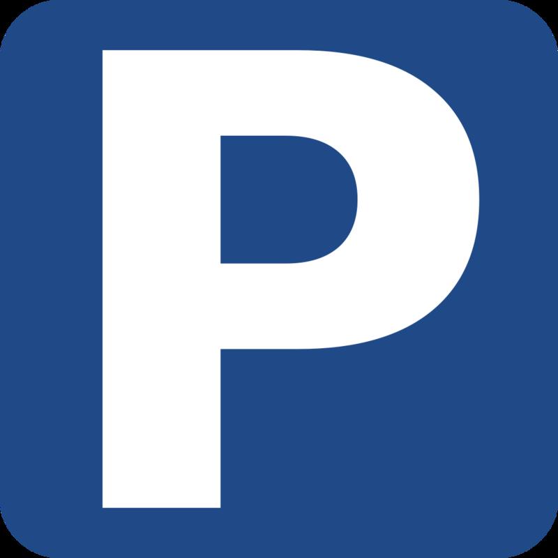 Parkeringsskilt; blå firkant med hvit P