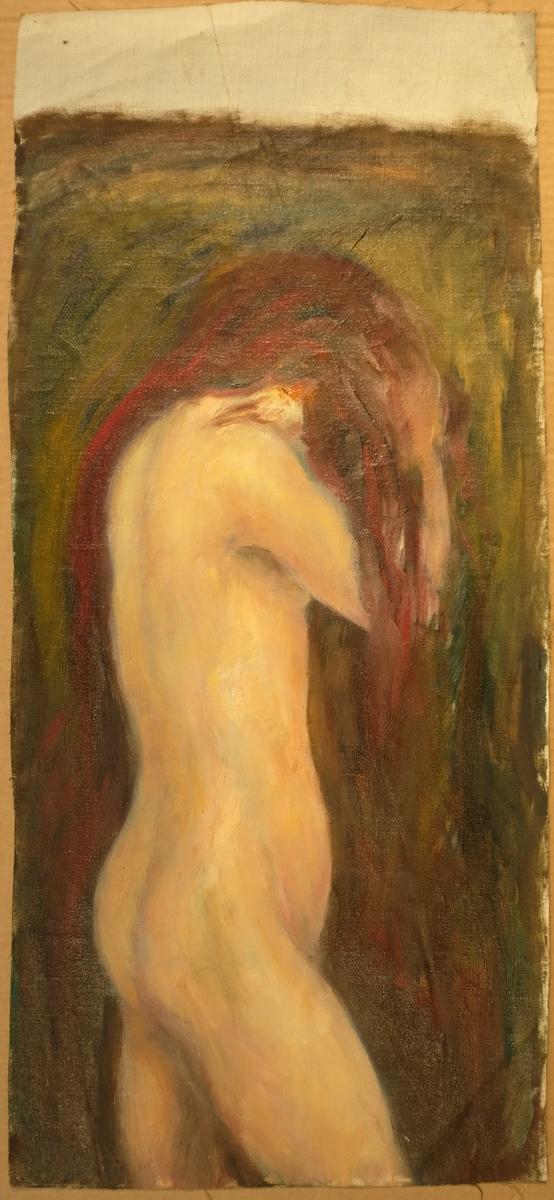 Kvinneakt med raudt hår mot grønaktig bakgrunn. Minner om Munch både i stil og motiv