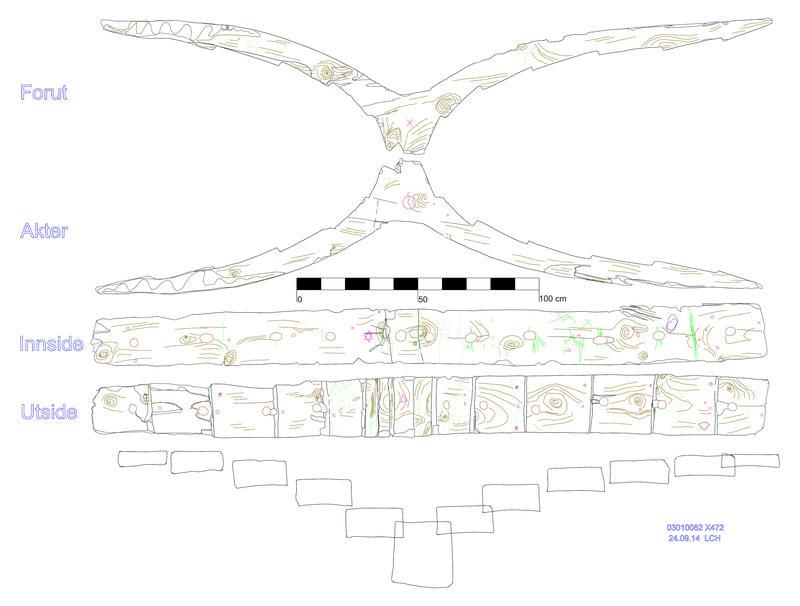 De fire sidene av en bunnstokk, basert på en 3D-tegning fra et skip fra 1500-tallet, funnet i Bjørvika i Oslo, presentert etter hverandre. Outlines av delen samt streker innenfor outlinen gjengir delens form samt festemidler, verktøyspor, skader og annet som er observert på skipsdelen. (Foto/Photo)