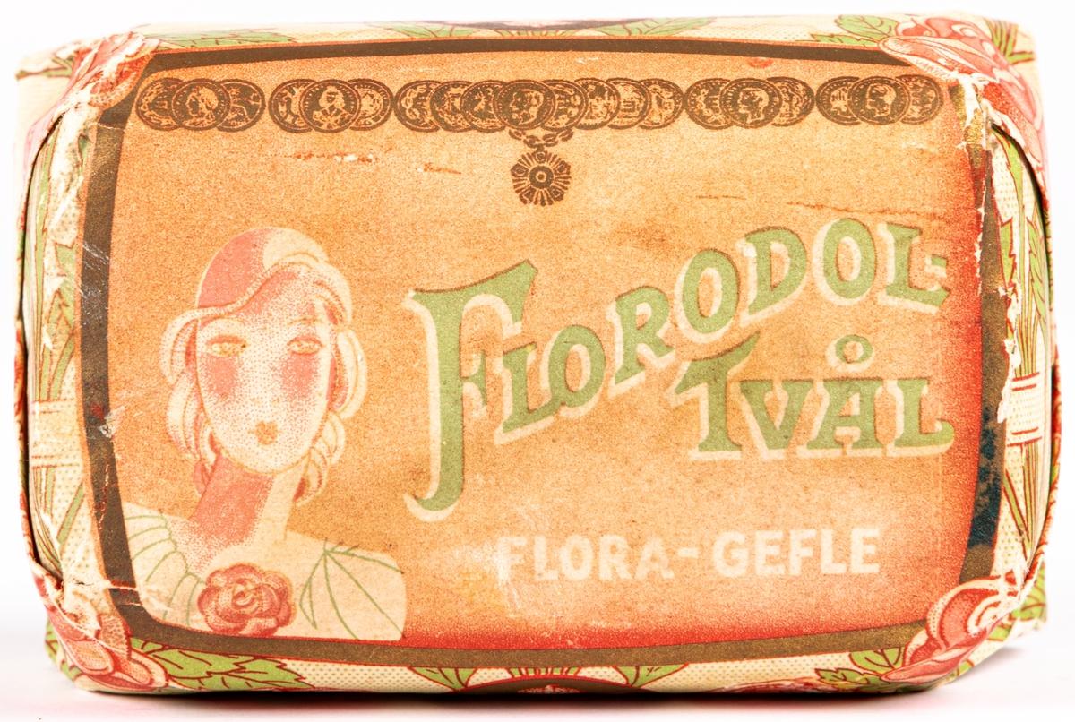 Två tvålförpackningar, säljattrapp Florodoltvål Flora Gävle.