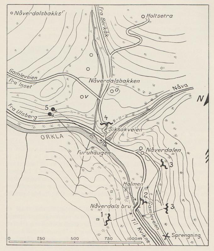 Kart over kampområdet i Nåverdalen. Fra Jensen: Krigen i Norge 1940.