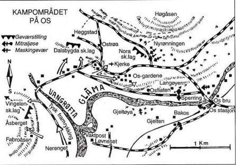 Kart over kampområdet ved Os. Fra Grandum: Fra felttog til frigjøring i Nord-Østerdalen.