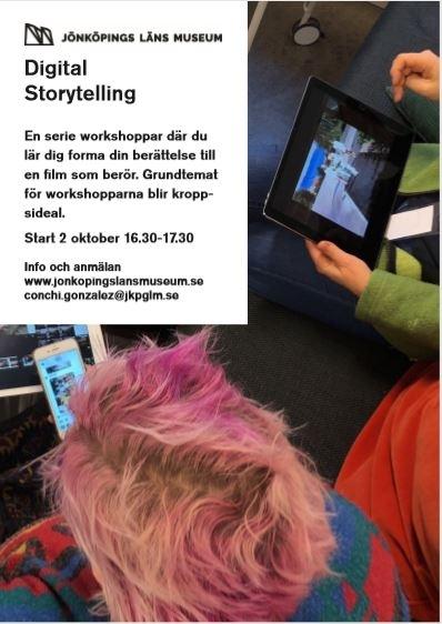Metoden digital storytelling har använts. Workshop om 5 träffar med start 2018-10-02. Idé och produktion: Conchi Gonzales, Jönköpings läns museum.