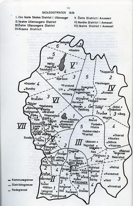 Skoledistrikter i Ullensaker i 1828. (Foto/Photo)