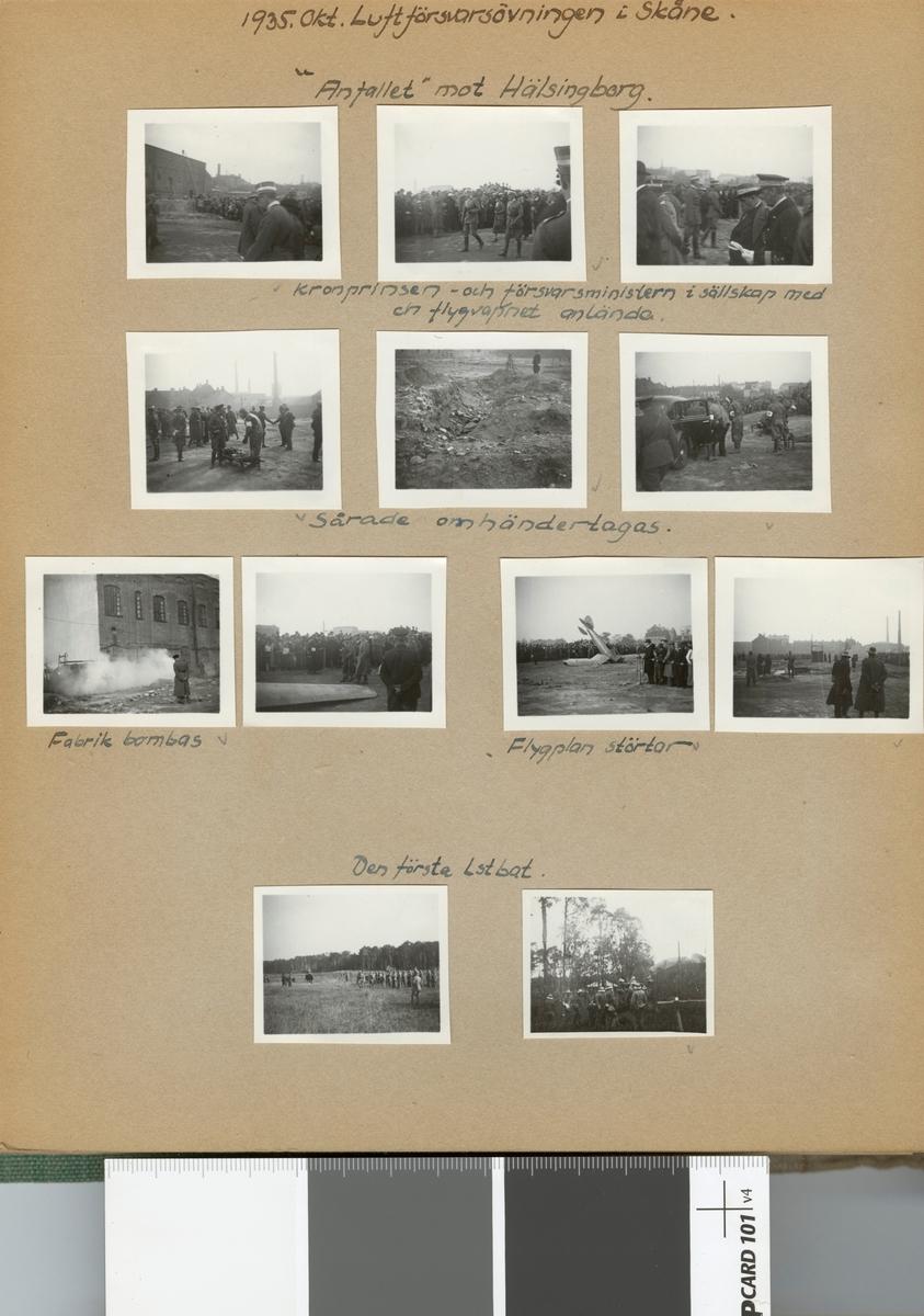 """Text i fotoalbum: """"1935. Okt. Luftförsvarsövningen i Skåne. """"Anfallet"""" mot Hälsingborg""""."""