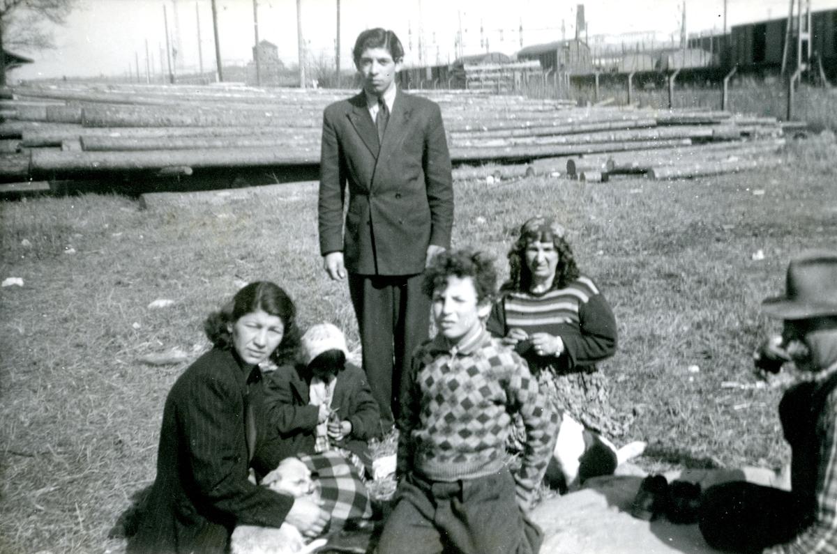 En familj sitter på marken och kisar mot kameran i vårsolen. Bilden är troligen tagen vid den romska lägerplats som fanns vid Kruthusgatan i Göteborg i slutet av 1940-talet. I bakgrunden syns Skansen Lejonet. I Göteborg finns flera platser runt om i staden med koppling till svenskromsk nittonhundratalshistoria. Lägerplatserna förlades ofta i vad som då var stadens ytterområden eller andra icke-planlagda områden. Romska lägerplatser har funnits bland annat i Fredriksdal (1920-tal), Kvillebäcksområdet (1920-talet) och i Bergslagsparken (1950-tal).