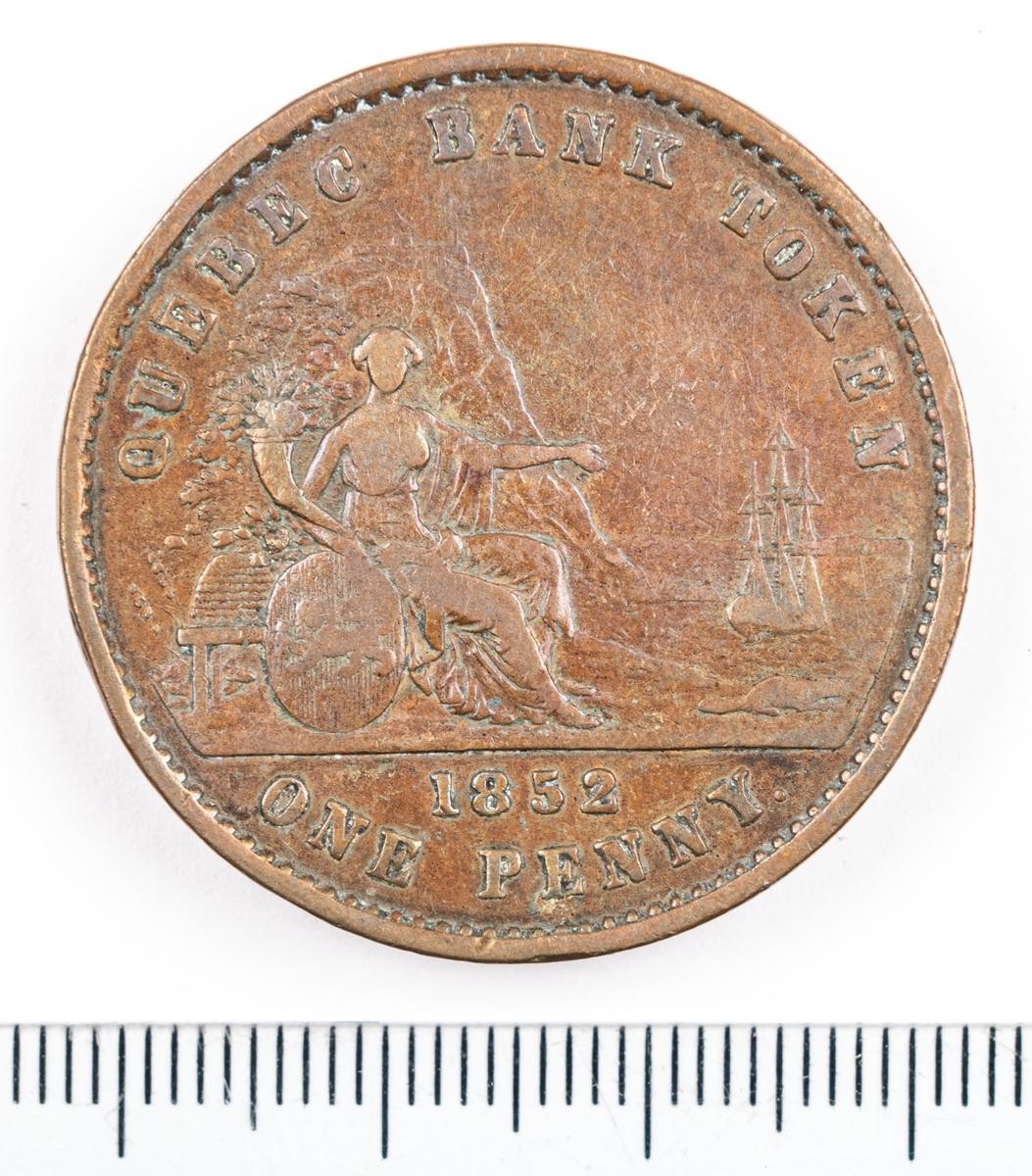 Mynt, Canada, 1852, 1 Penny.