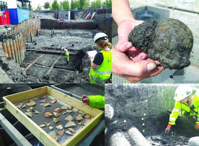 Noen øyeblikksbilder fra utgravningen i Bispekilen, som foregikk i mai og juni: Bryggefundamenter, kulturlag og keramikk. Oppe til høyre; kanonkule i jern med korrosjon, funnet i kulturlag fra 1500-tallet.. Foto/Photo