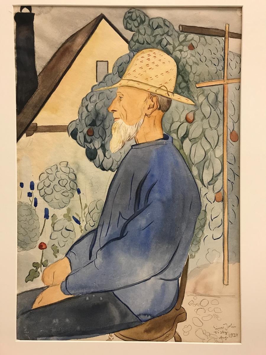 Gubbe i trädgård [Akvarellmålning]