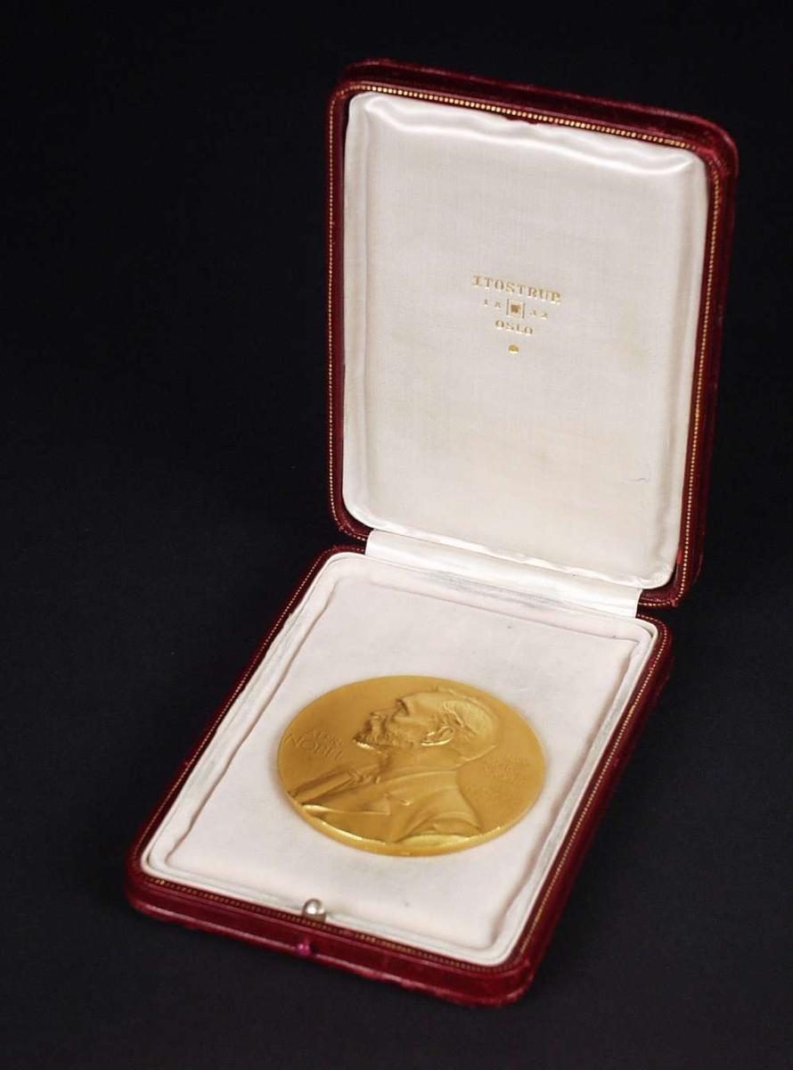Nobelmedaljen for Litteratur er designet av Erik Lindberg. Nobelmedaljen for Litteratur viser en ung mann som sitter under et Laurbærtre. Han lytter til og skriver ned sangen til en Muse. Vinnerens navn blir gravert under figurene.  Portrett av Alfred Nobel.