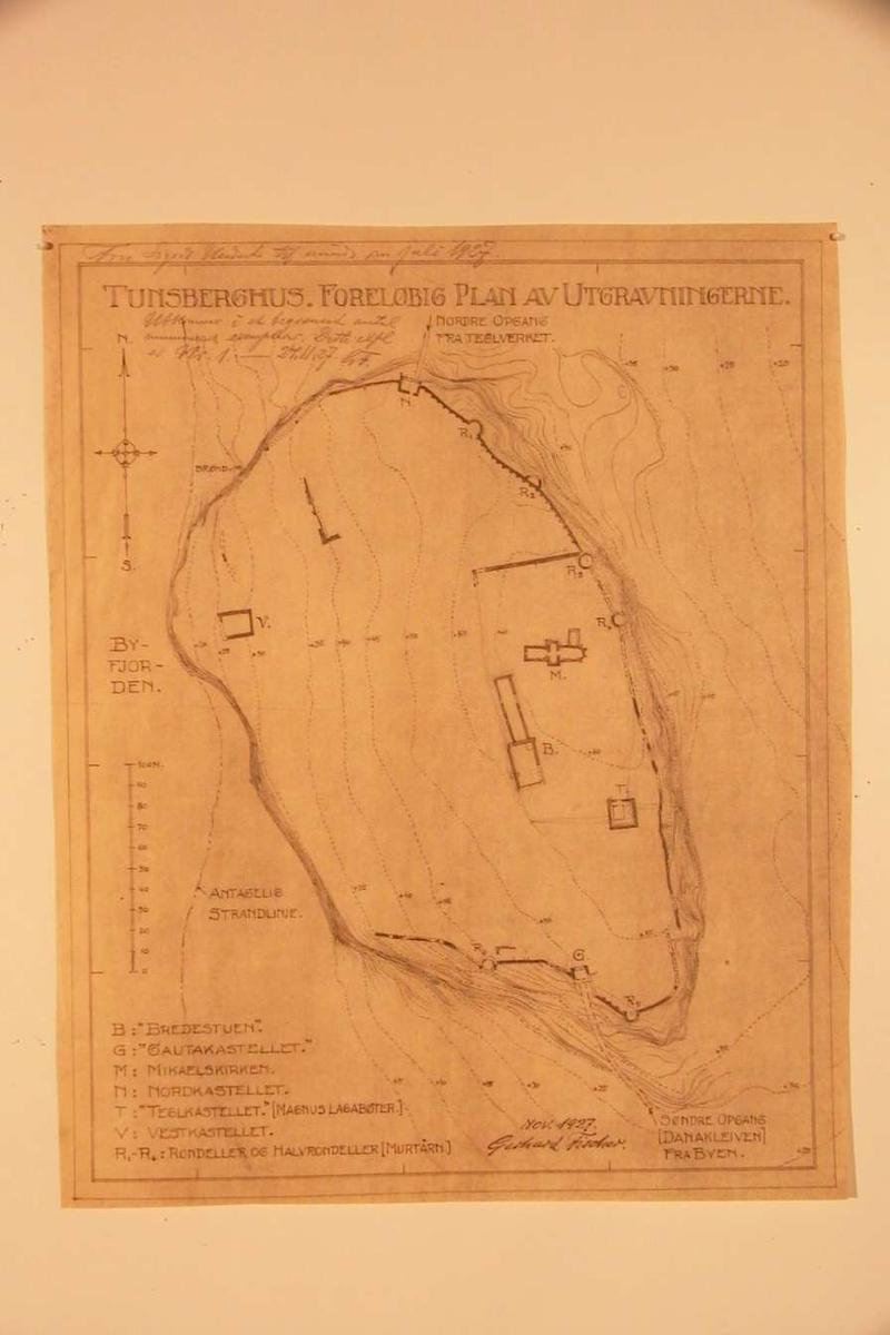 Kart over Tunsberghus med foreløbig plan over utgravningene i 1927.
